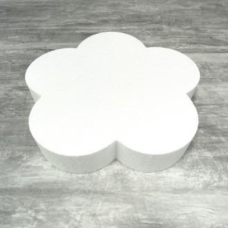 Grand Socle plat Fleur 2D en polystyrène blanc, Diamètre 40 cm x Epais. 7cm, Support pour centre de