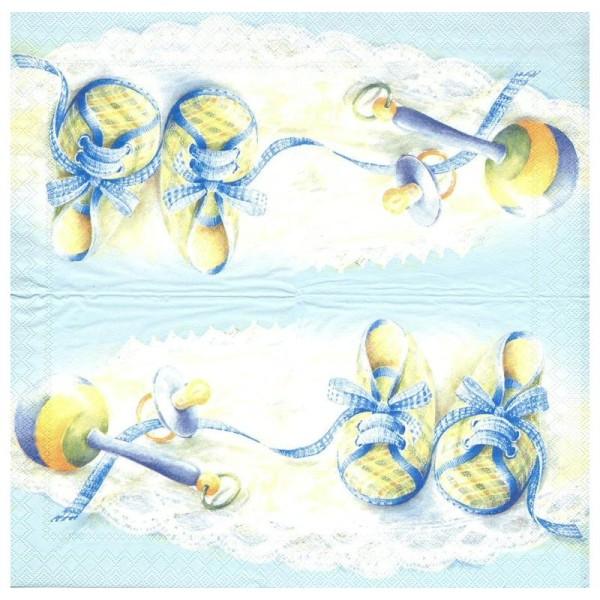 4 Serviettes en papier Naissance Chaussons Bleus  Format Cocktail - Photo n°2