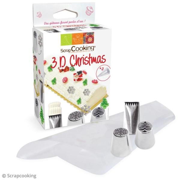 Kit douille à pâtisserie en inox - 3D Christmas - 4 pcs - Photo n°2