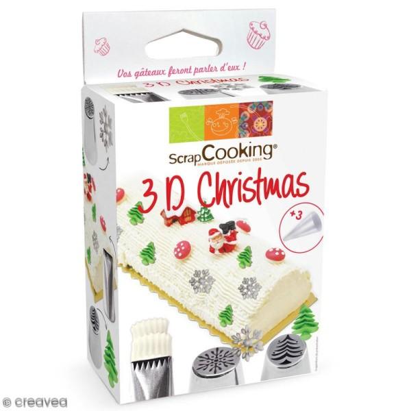 Kit douille à pâtisserie en inox - 3D Christmas - 4 pcs - Photo n°1
