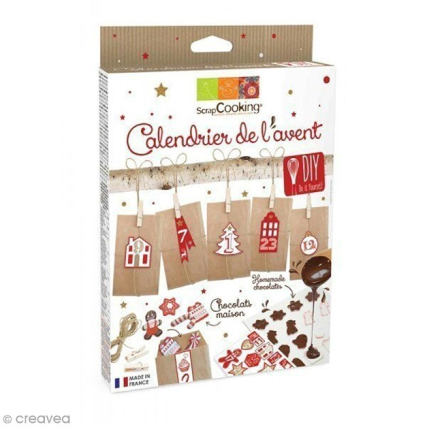 kit calendrier de l 39 avent chocolat fait maison 52 pcs coffret cuisine cr ative creavea. Black Bedroom Furniture Sets. Home Design Ideas