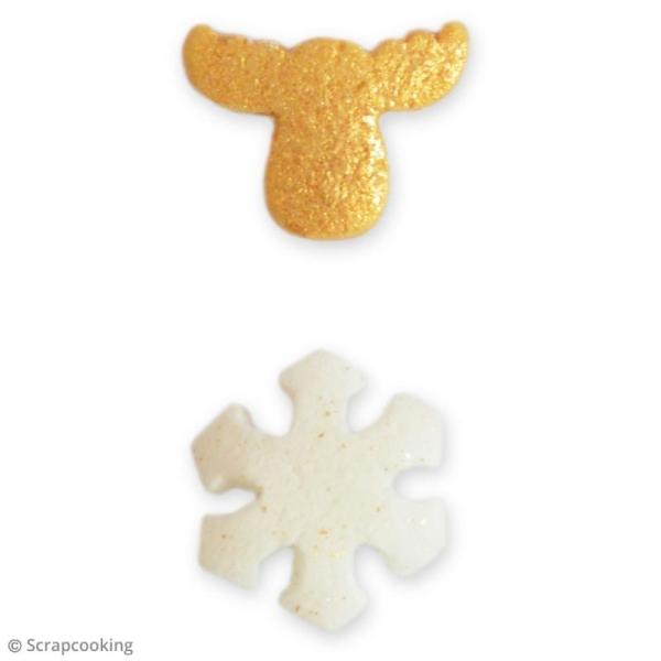 Pot de décors sucrés - Flocons et caribous - Blanc et doré - 50 g - Photo n°2