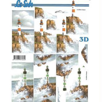 Feuille 3D à découper A4  Phare Paysage Mer