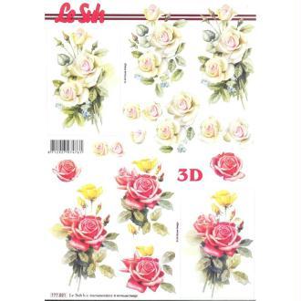 Feuille 3D à découper A4  Bouquet de Roses Fleurs