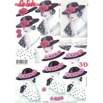 Feuille 3D à découper A4 Femme au Chapeau