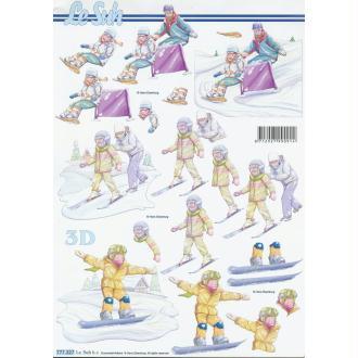 Feuille 3D à découper A4 Ski Snowboard Hiver