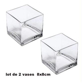 2 Vases en verre transparent carré 8cm