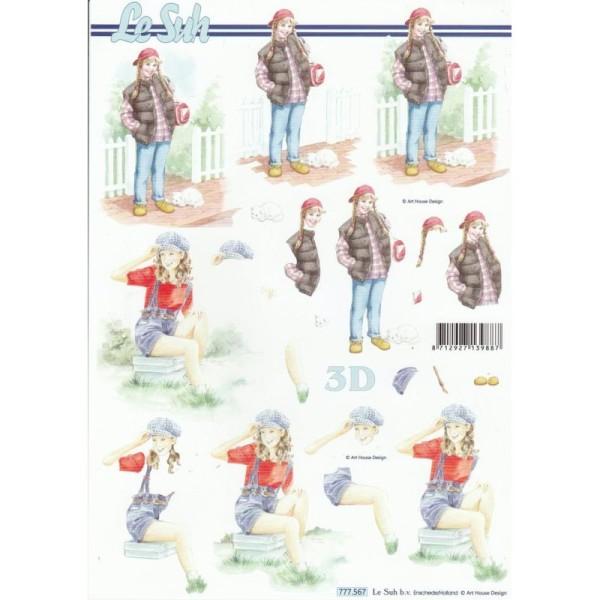 Feuille 3D à découper A4 Jeune Fille Chat - Photo n°1