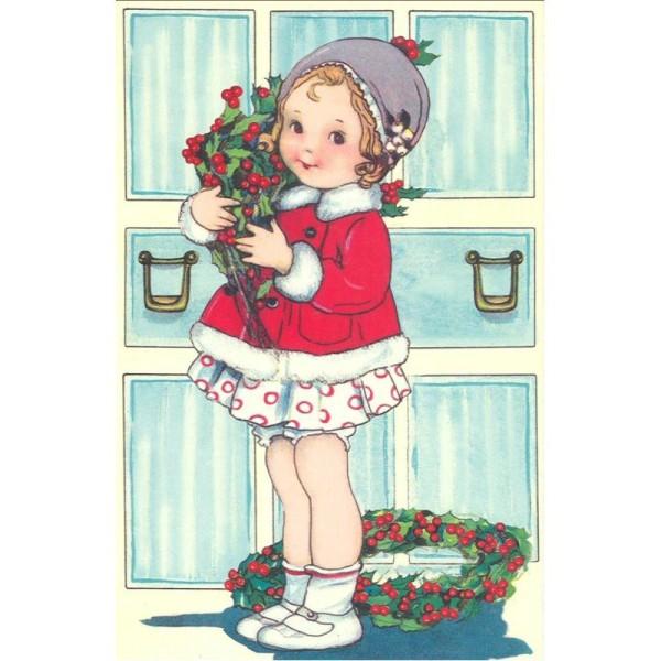 Image 3D Petite fille modèle Noël Format 12x18,5 cm pour creation d'un tableau tridimentionnel - Photo n°1