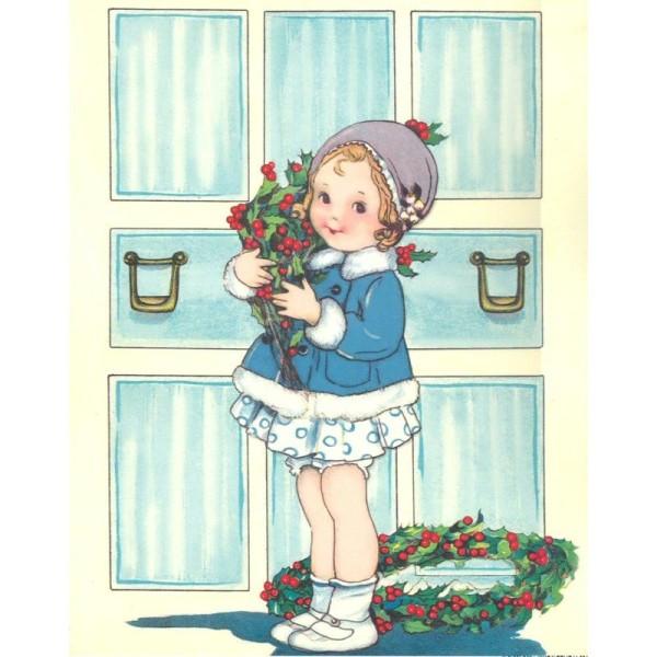Image 3D Petite Fille Modèle Noël Format 23x28,5 cm pour creation d'un tableau tridimentionnel - Photo n°1