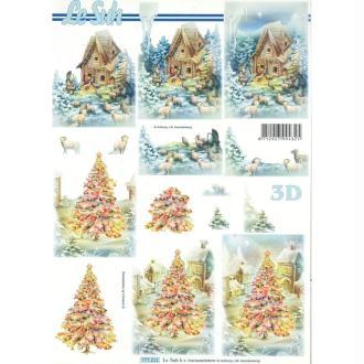 Feuille 3D à découper A4 Paysage d'hiver Crèche Noël