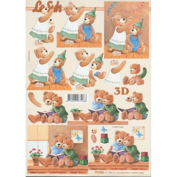 Feuille 3D à découper A4  Enfant Nounours Fête - Photo n°1