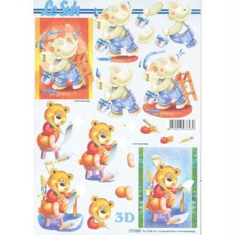 Feuille 3D à découper A4  Enfant Nounours éléphant
