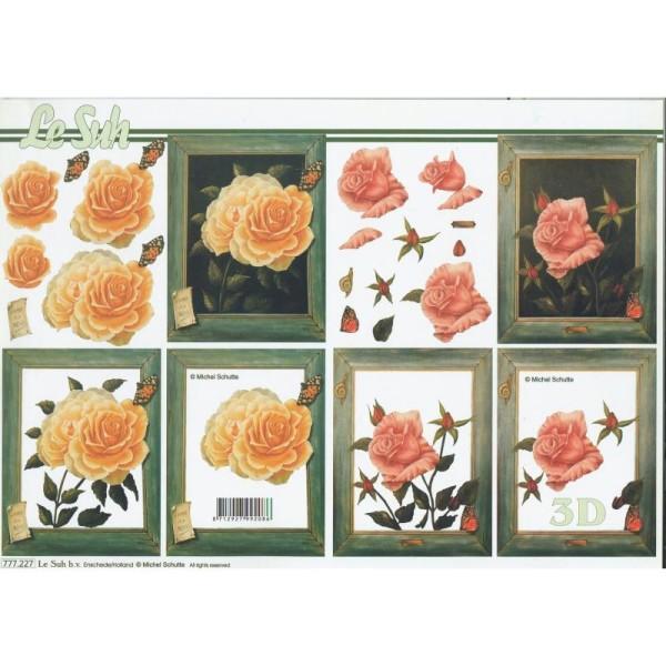 Feuille 3D à découper A4  Fleurs Rose - Photo n°1