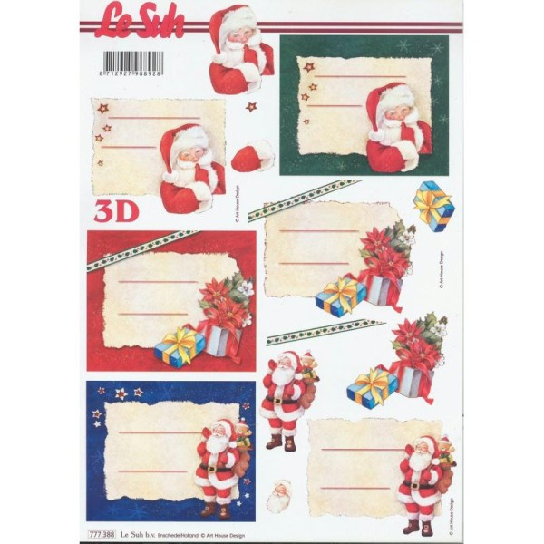 Feuille 3D à découper A4 étiquettes Père Noël - Photo n°1