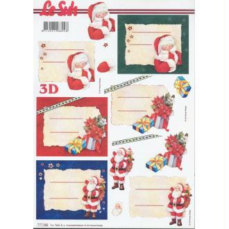 Feuille 3D à découper A4 étiquettes Père Noël