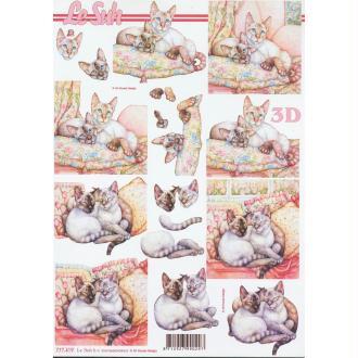Feuille 3D à découper A4 Couple de Chats