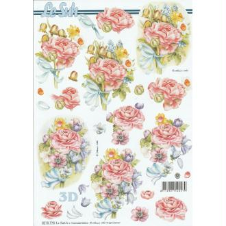 Feuille 3D à découper A4 Fleur Roses