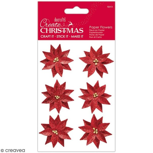 Fleurs décoratives en papier - Create Christmas - Poinsettias - 6 pcs - Photo n°1