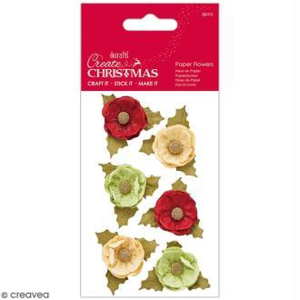 Fleurs décoratives en papier - Create Christmas - Fleurs décoratives - 6 pcs