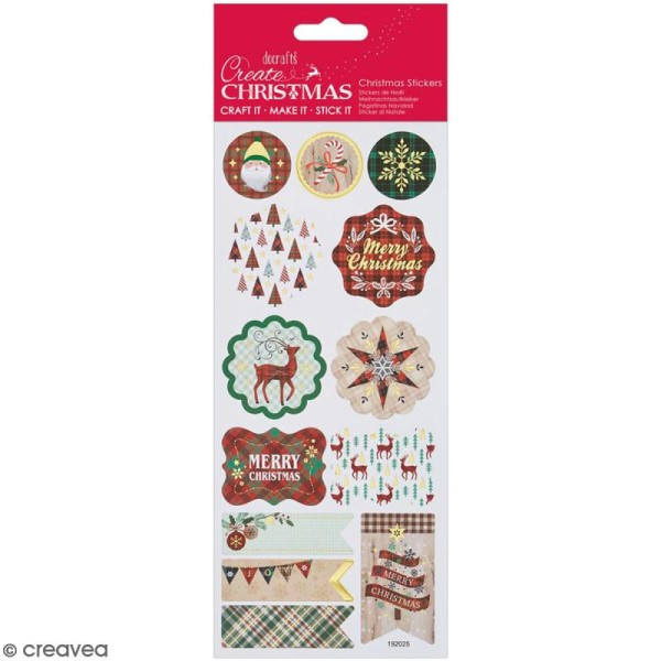 Stickers détails foil Create Christmas - Noël Tartan - 13 pcs - Photo n°1