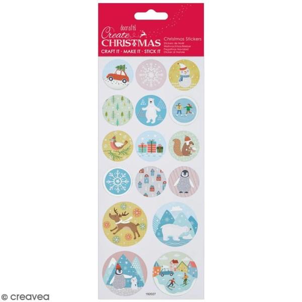Stickers détails foil Create Christmas - Noël pastel - 16 pcs - Photo n°1