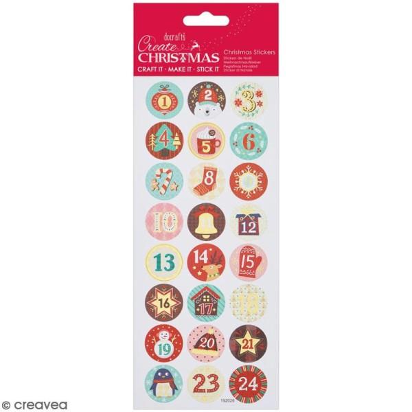 Stickers détails foil Create Christmas - Chiffres de l'avent - 24 pcs - Photo n°1