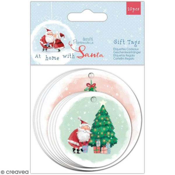Etiquette ronde Docrafts - At Home with Santa - 2 tailles - 20 pcs - Photo n°1