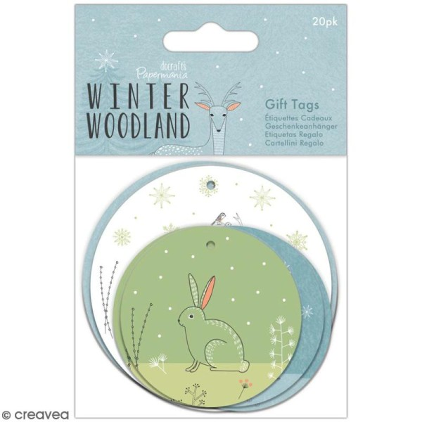 Etiquette ronde Docrafts - Winter Woodland - 2 tailles - 20 pcs - Photo n°1