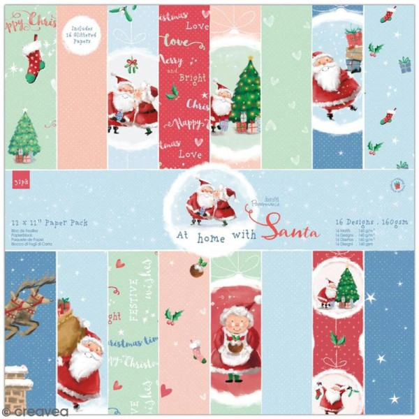 Papier scrapbooking Docrafts - At Home with Santa - 30 x 30 cm - 32 pcs - Photo n°1