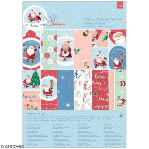 Kit complet scrapbooking A4 Docrafts - At Home with Santa - Papiers et die-cuts - 48 pcs - Photo n°1