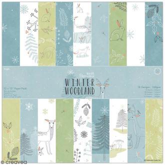 Papier scrapbooking Docrafts - Winter Woodland - 30,5 x 30,5 cm - 36 pcs