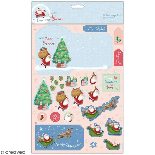 Set de découpages A4 Docrafts - At Home with Santa - Voeux - 8 pcs - Photo n°1