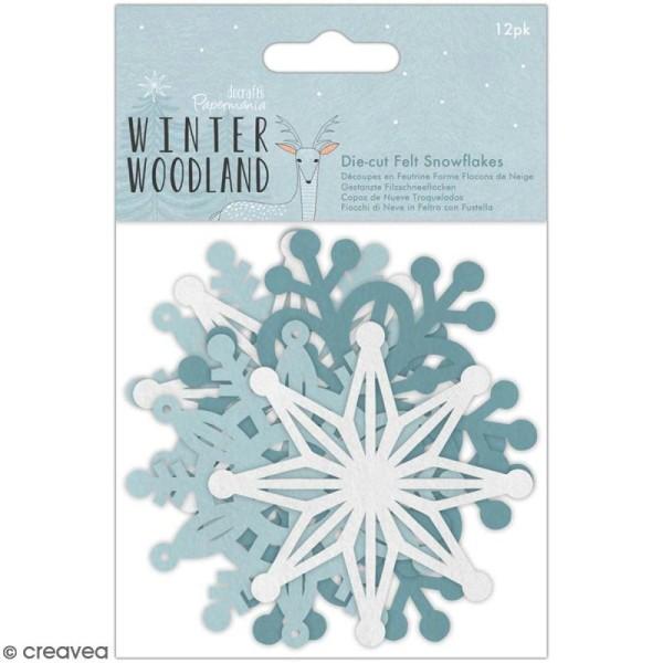 Forme en feutrine Docrafts Winter Woodland - Flocons de neige - 7,5 à 8 cm - 12 pcs - Photo n°1