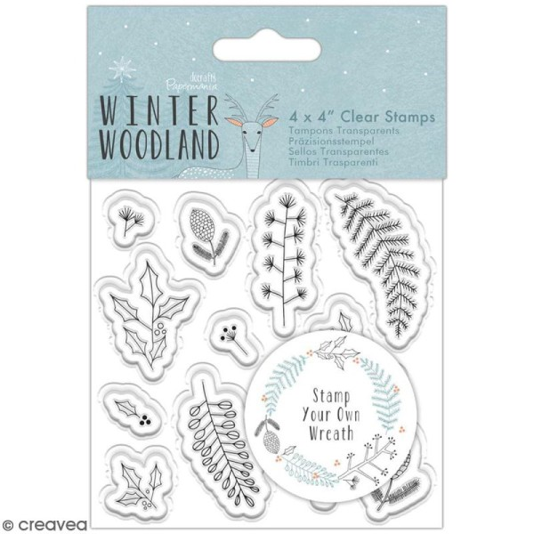 Tampon clear Docrafts Winter Woodland - Couronne végétale - 13 tampons - Photo n°1