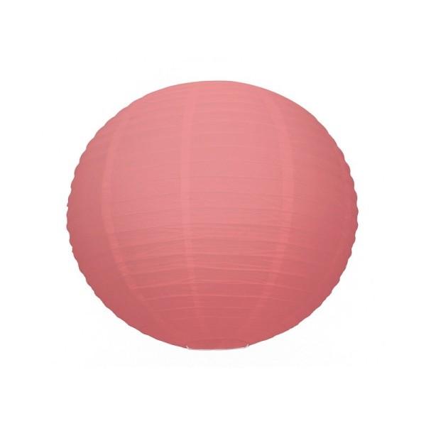 Lanterne Japonaise boule de 35 cm en papier Rouge Corail, Boule chinoise Corail - Photo n°1