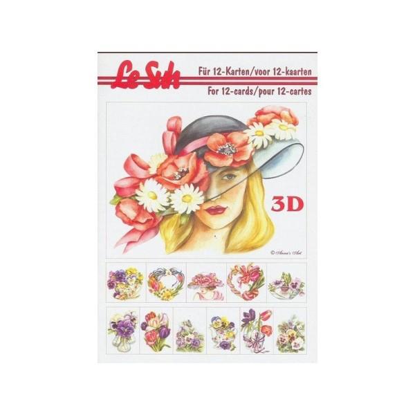 Livre Feuilles 3d A5 Decoupage Collage Carterie 12 Motifs Fleurs Printemps