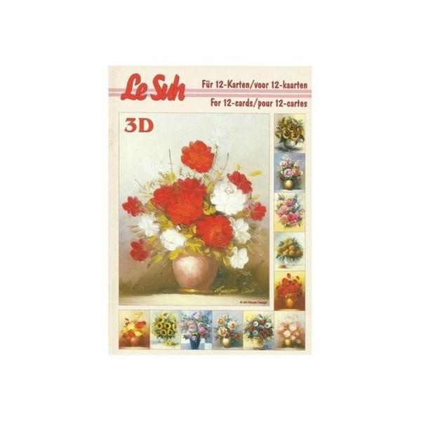 Livre Feuilles 3d A5 Decoupage Collage Carterie 12 Motifs Fleurs