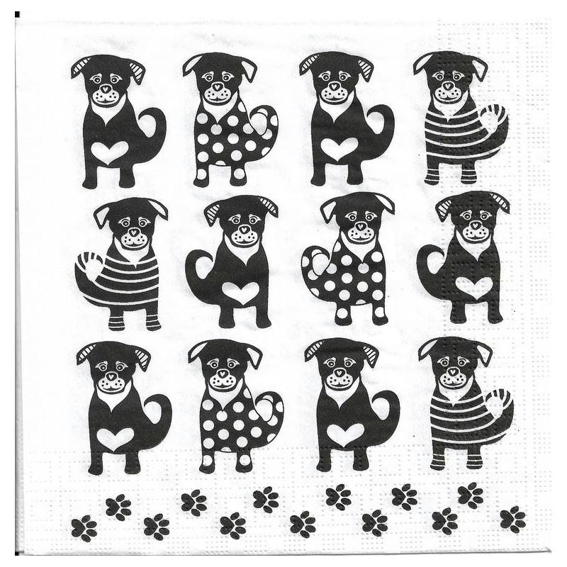 4 serviettes en papier douze chiens format lunch serviette en papier animaux creavea. Black Bedroom Furniture Sets. Home Design Ideas
