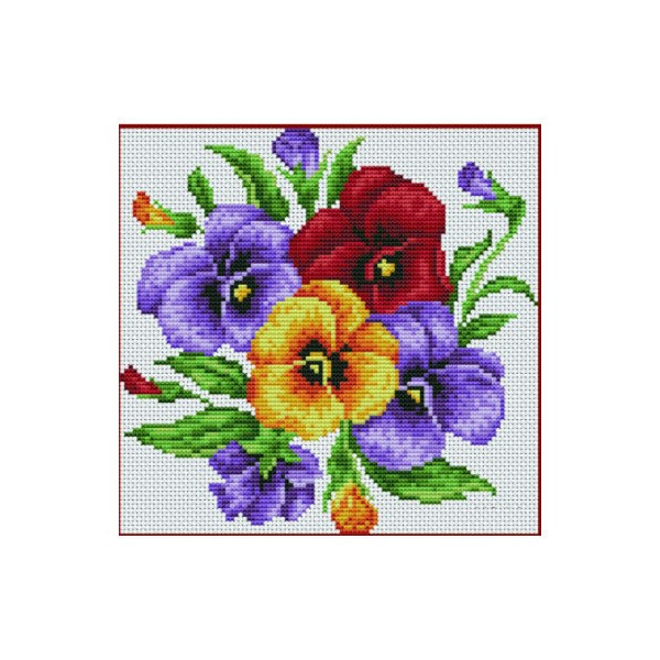 Jaune Rouge Violet Fleurs au Point de Croix Kit fait à la Main Broderie DMC Point de Croix Jeux de B - Photo n°1