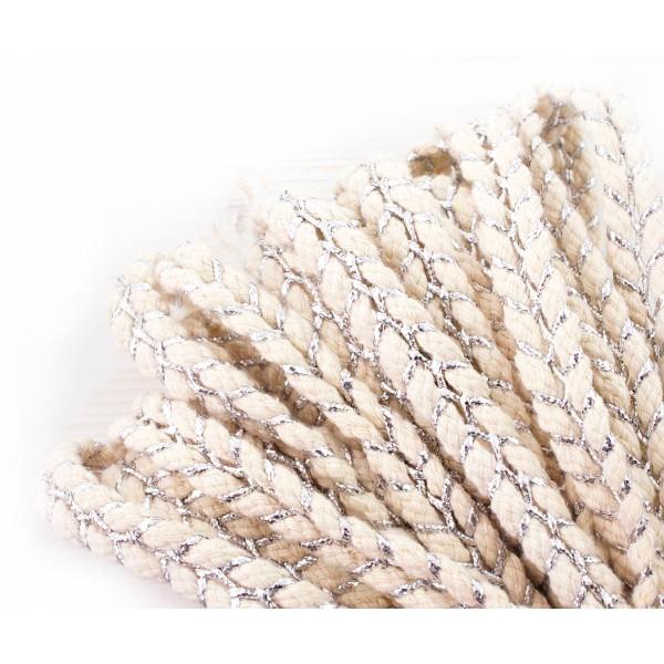1yrd 0,9 m de la Lumière Naturelle Beige Argent de Draps en Coton Tricoté Ruban Tissu à Plat Cordon - Photo n°1