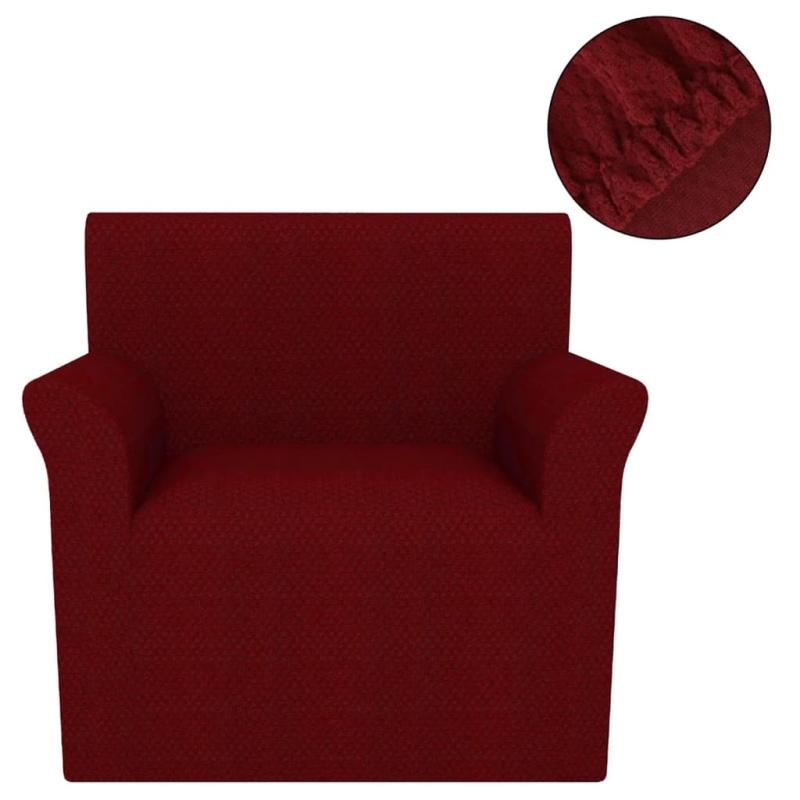 vidaxl housse extensible de fauteuil bordeaux piqu housses de coussin creavea. Black Bedroom Furniture Sets. Home Design Ideas