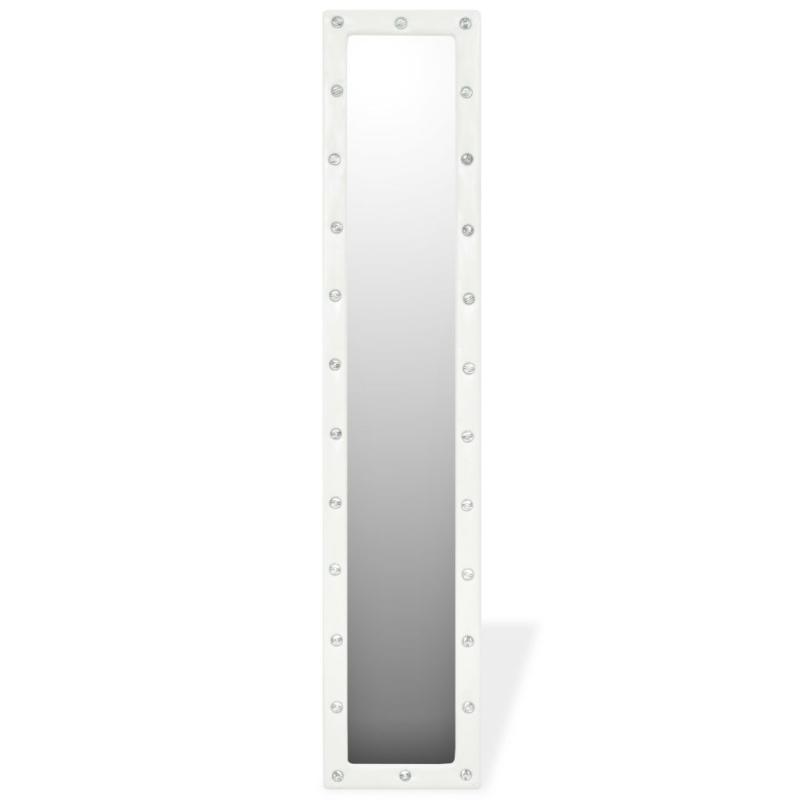 vidaxl miroir sur pied cuir artificiel 30 x 150 cm blanc brillant miroir adh sif creavea. Black Bedroom Furniture Sets. Home Design Ideas