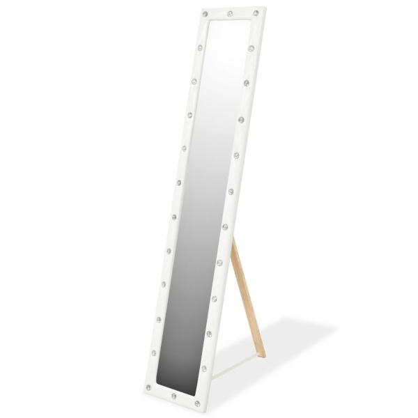 Vidaxl Miroir Sur Pied Cuir Artificiel 30 X 150 Cm Blanc Brillant ...