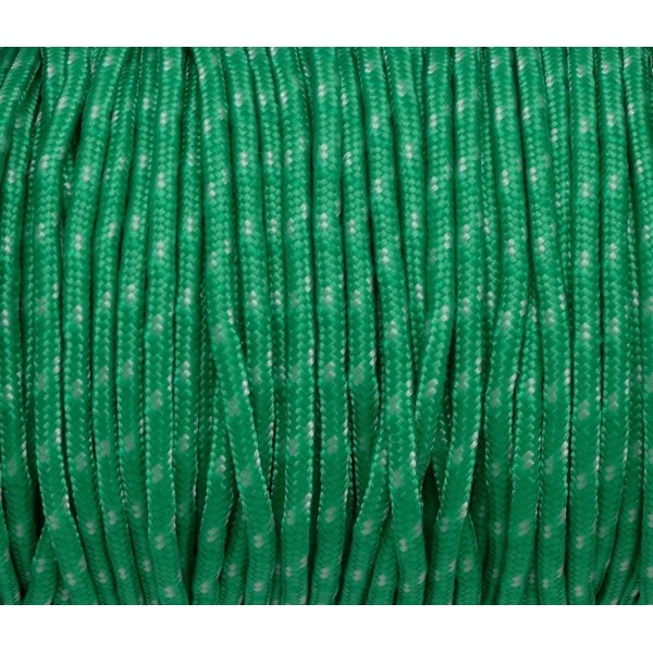 2m Paracorde 3mm Cordon Nylon Tressé Corde Nylon Gainé Bicolore Vert Herbe Et Blanc Cassé - Photo n°2