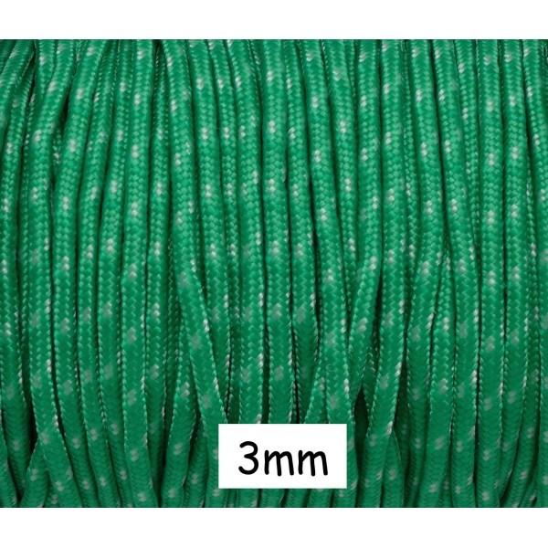 2m Paracorde 3mm Cordon Nylon Tressé Corde Nylon Gainé Bicolore Vert Herbe Et Blanc Cassé - Photo n°1