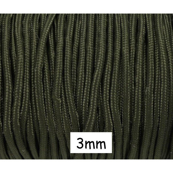 2m Paracorde 3mm Cordon Nylon Tressé Corde Nylon Gainé Uni Vert Militaire - Photo n°1