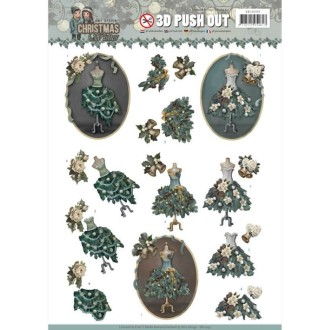 Carte 3D prédéc. - Amy Design - Christmas Wishes - Robes de Noël