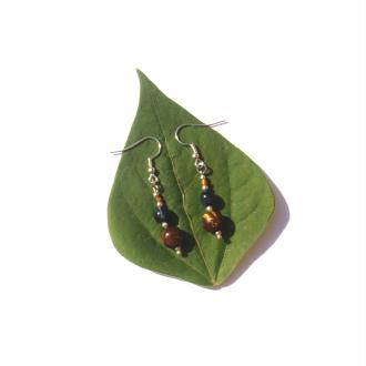Boucles d'Oreilles Oeil Tigre et Faucon 5 CM de hauteur x 8 MM
