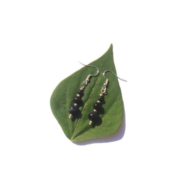 Boucles Oreilles Oeil de Faucon 5,3 CM de hauteur x 8 MM de diamètre - Photo n°1